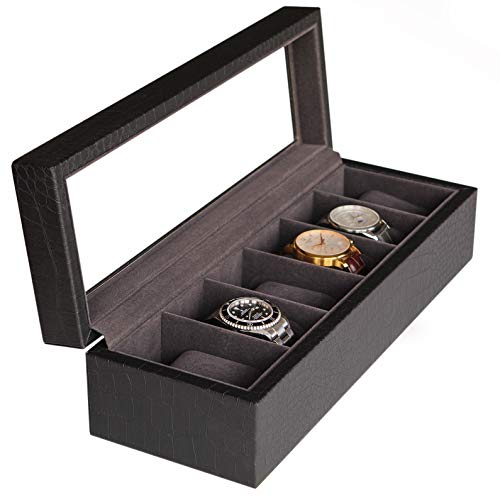 Watch Box Case with Elegant Crocodile Finish and Real Glass – Black