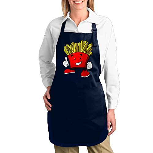[Dogquxio Cartoon French Fries Kitchen Helper Professional Bib Apron With 2 Pockets For Women Men Adults Navy] (French Fries Costume Diy)