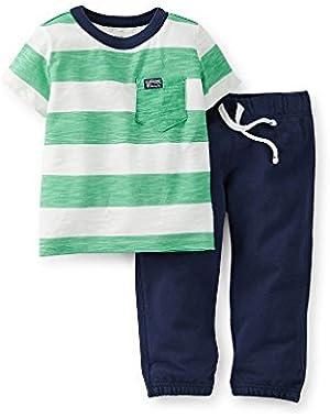 Carter's Baby Boys Striped Tee & Pants Set (nb, Green)