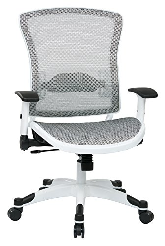(SPACE Seating Breathable Mesh Seat and Back, 2-to-1 Synchro Tilt Control, 2-Way Adjustable Flip Arms, and White Coated Nylon Base Managers Chair, White)