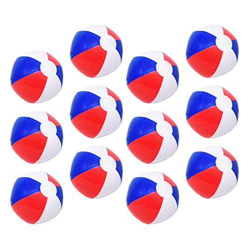 Beachgoer 12-Inch Bulk Pack of 12 Red White Blue Beach Ball - Patriotic Beach Balls for Fourth of July