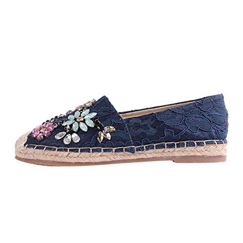 Espadrij Chaussures Bleues Avec L'entrée Pour Les Femmes d395hcn54H