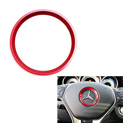 iJDMTOY (1) Sports Red Aluminum Steering Wheel Center Decoration Cover Trim For Mercedes B C E CLA GLA GLC GLK Class, etc