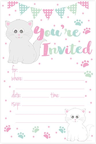 Kitty Cat Birthday Party Invitations - Fill In Style (20 Count) With Envelopes by m&h invites by m&h invites