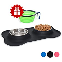 KEKS Set of 2 Stainless Steel Bowls with Non-Skid & No Spill Silicone Black Stand for Small Dogs, Cats, Puppy & Collapsible Travel Pet Bowl