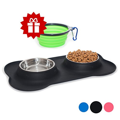Set of 2 Stainless Steel Bowls with Non-Skid & No Spill Silicone Black Stand for Small Dogs Cats Puppy & Collapsible Travel Pet Bowl (Retriever Dog Bowl)