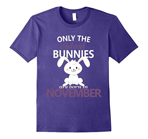 Mens Bunny November Birthday T-Shirt Birthday Bunnies Easter Gift 2XL Purple
