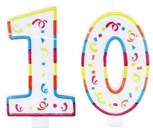 Vela de cumpleaños número 10 bombillas tipo vela para ...