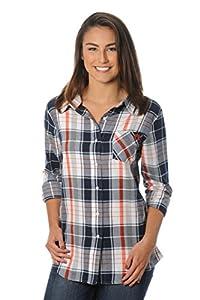 NCAA Auburn Tigers Women's Boyfriend Plaid Shirt, Medium, Navy/Orange/White