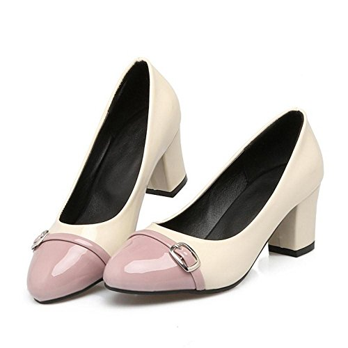 TAOFFEN Women Western Block Mid Heel Slip On Mixed Colors Court Shoes with Buckle Pink kj603zh