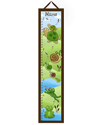 (Toad and Lily Kids Canvas Growth Chart Pond Critters Frog Turtle Snails Froggie Kids Bedroom Baby Nursery Wall Art Growth Chart GC0171)