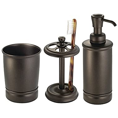 mDesign Steel Bath Accessory Set, Soap Dispenser Pump, Toothbrush Holder, Tumbler - 3 Pieces, Bronze