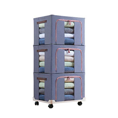 LAOSUNJIA Juego de 3 Cajas de Almacenamiento de Tela Oxford Plegables con Tapas Grandes con chasis extraíble (Color : B,...