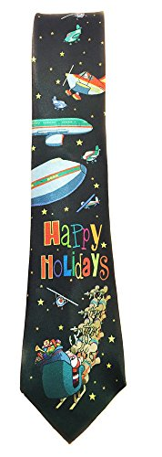 Stonehouse Collection Men's Airplane Christmas Tie - Merry Christmas Aviation Tie