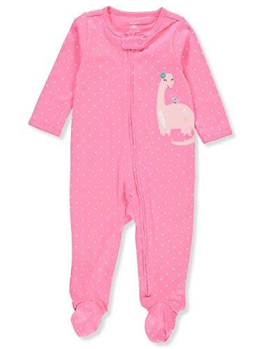 Dot Cotton Pink Jersey (Carter's Baby Girls' Footie Sleep N Play (Newborn, Dot Pink Dinosaur))