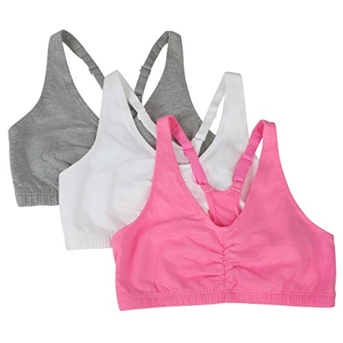 Fruit of the Loom Women's 3 Pack Shirred Front Sports Bra, Neon Pink Heather/White/Grey Heather, - 3 Bra Way