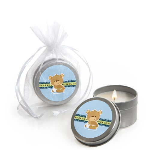 Teddy Bear Candles - Big Dot of Happiness Boy Baby Teddy Bear - Candle Tin Baby Shower Favors - Set of 12