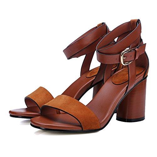 Toe Materials VogueZone009 High Solid Heels Women's Brown Sandals Blend Buckle Open 8wxCwfgqX