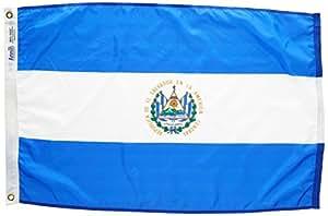 ANNIN & COMPANY Annin Flagmakers 192398Nylon SolarGuard nyl-GLO Bandera de El Salvador, 2x 3'