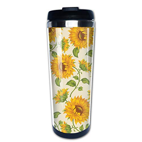 Travel Coffee Mug Drawn Sunflower Stainless Steel Insulated Coffee Cup Sport Water Bottle 13.5 Oz