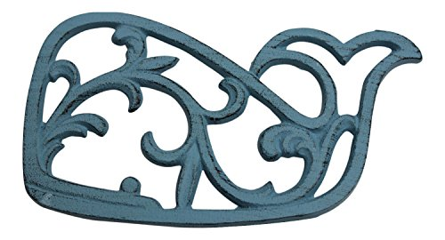 (Ocean Blue Filigree Whale Kitchen or Dining Hot Plate Trivet Cast Iron)