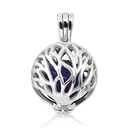 WithLoveSilver 925 Sterling Silver Celtic Round Tree of Life with 10mm Ball Pendant Locket (Purple)