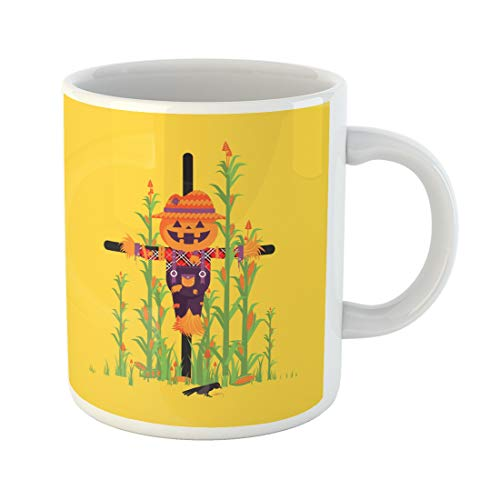 Emvency Funny Coffee Mug Stock Scarecrow with Pumpkin Instead of Head Among Maize Character for Halloween 11 Oz Ceramic Coffee Mug Tea Cup Best Gift Or Souvenir