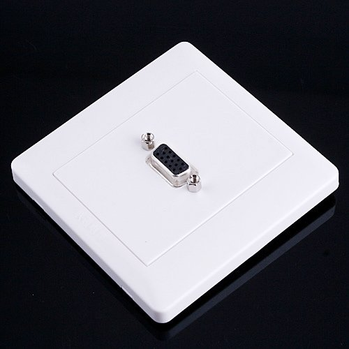 e to Female VGA Port Wall Plate Coupler Socket Panel NEW White (Wall Plate 15 Pin)