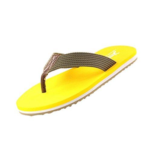 Baymate Unisex Couples Toe Post Beach Flip Flops Gradual Change Style Sandals Shoes Man Yellow