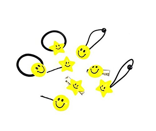 (1Set(8PCS) Girls Smiley Face Hair Tie Hair Clips-Ponytail Holder Elastic Cotton stretch Hair Ties Hair Styling Tools Headband Scrunchie Hair)