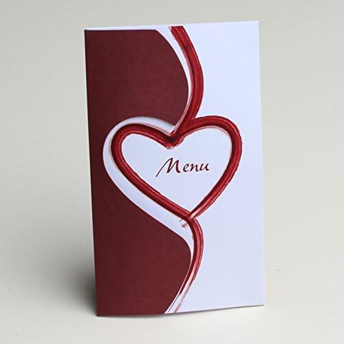 Menu carton th/ème Coeur bordeaux x10 mariage bapt/ême communion D/écoration Mariage Bapteme F/ête Naissance Anniversaire