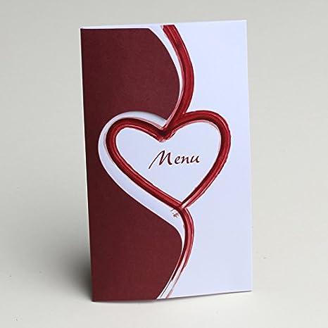 Menu Carton Thème Coeur Bordeaux X10 Mariage Baptême Communion Décoration Mariage Bapteme Fête Naissance Anniversaire