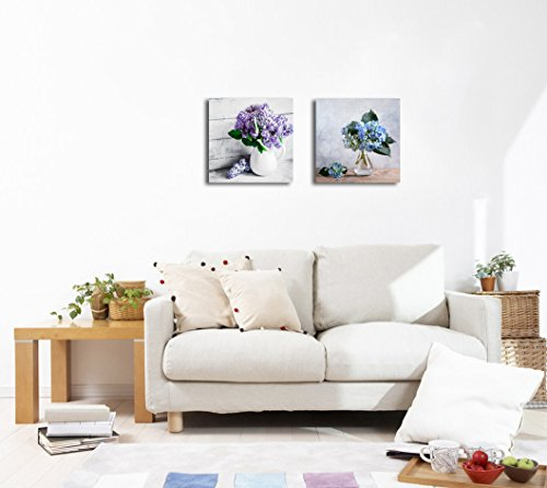 Still Life with Blue Hortensia Flowers and Lilacs in Glass vase 2 Panel x 2 Panels