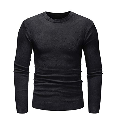 iLXHD Pullover Slim Jumper Print Knitwear Outwear Blouse Athletic Sweaters(Black -