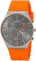 Skagen Men's SKW6074 Balder Titanium Watch with Orange Silicone Band