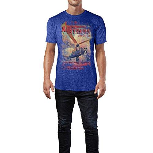 SINUS ART® Air Trails Herren T-Shirts stilvolles blaues Cooles Fun Shirt mit tollen Aufdruck