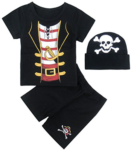 Mombebe Baby Boys' 3 Pieces Pirate Short Clothing Set with Hat (12-18 Months, (Ideas Family Halloween Costumes Baby)