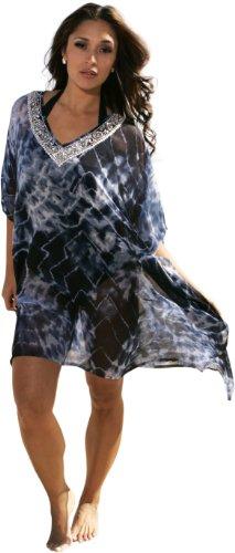Ingear Summer Cover Up Sequins Beachwear Poncho Beaded Elegant Fashion Tunic (One Size, Blue)