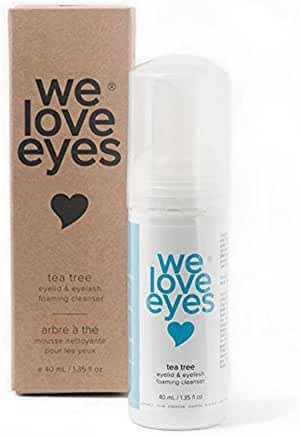 All Natural Tea Tree Eyelid Foaming Cleanser / Wash - We Love Eyes - Blepharitis, Demodex and Dry Eyes Relief, Paraben and Sulfate Free - 40 ml