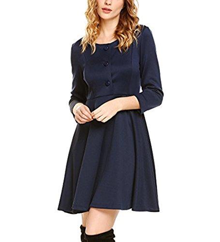 Meaneor Damen Sommerkleider Vintage Rockability A Linie Kleid ...