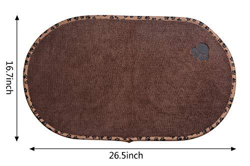 SINLAND Microfiber Pet Bowl Mat Dish Drying Mat with Anti-Skid Backing