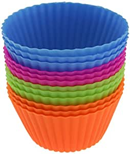 ChefNut 12-pack Reusable Silicone Baking Cups / Cupcake Liners in Storage Container