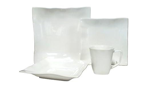 Christmas Tablescape Decor - Vanilla Wave square wavy rim white porcelain 16-piece dinnerware set, service of 4 by Red Vanilla