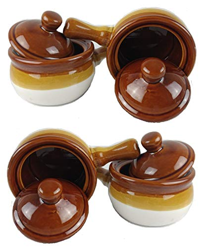 Individual French Onion Soup Crock Chili Bowls with Handles and Lids, Ceramic 17 Ounces 4 Pack - http://coolthings.us