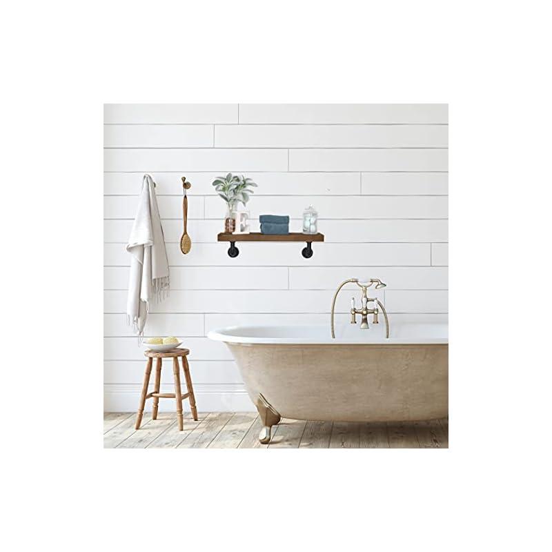 "Industrial Pipe Shelf (24"" x 6"" Walnut), Rustic Farmhouse Wall Shelving, Vintage Black Iron Metal Pipe, Perfect Retro Bedroom Decor"
