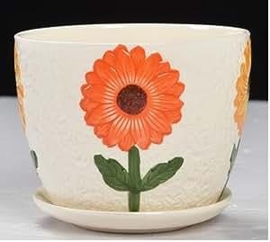 Redondos de cerámica maceta con bandeja con gran flor amarilla, al aire libre jardín contenedores de plantas, hecho a mano