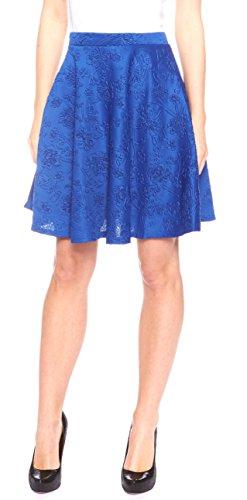 Women's Floral Print Versatile Stretchy Flared Skater Skirt (Large, Blue)