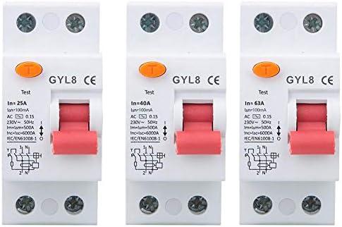 遮断器、2P残留電流遮断器漏電保護電気機器25A/40A/63A 230VAC(25A)