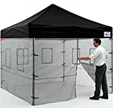Impact Canopy 10x10 Canopy Pop Up Tent with Mesh Walls Impact Canopies Food Vendor Booth with Roller Bag, Black
