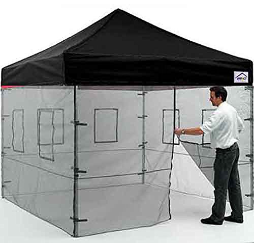 Impact Canopy 10' x 10' Pop-Up Canopy Tent, Instant Food Vendor Booth with Mesh Walls and Roller Bag, Black ()